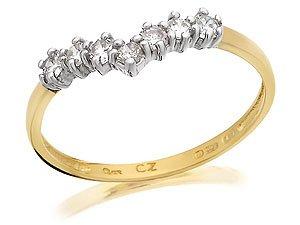9ct Gold Cubic Zirconia Wishbone Ring - M