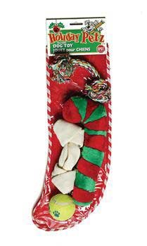 Holiday Deluxe Filled Stocking Dog Toys 4 Piece
