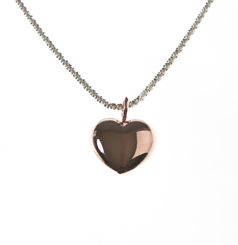 Silver 20 Inches Gold Plated Red Puff Heart Necklet