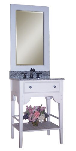 Kaco international 340-3000-W-AB Dover 30-Inch Vanity with Cottage White Sherwin Williams Finish and Black Granite Top