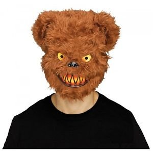[Scary Teddy Bear Mask Adult Evil Psycho Halloween Costume Fancy Dress] (Evil Teddy Bear Halloween Costume)