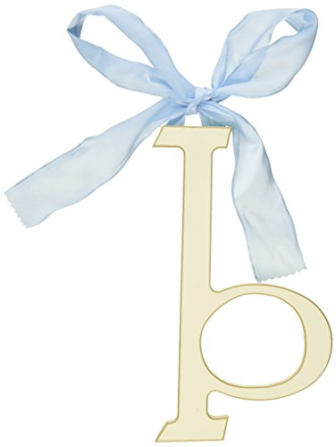 New Arrivals Wooden Letter B with Blue Solid Ribbon, Cream