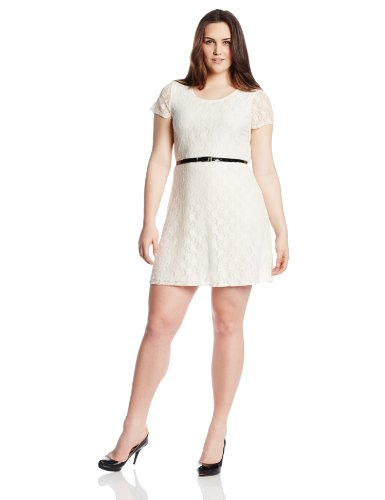 B00HD6R1U6 Star Vixen Women's Plus-Size Short Sleeve Lace Skater Dress, Ivory, 1X