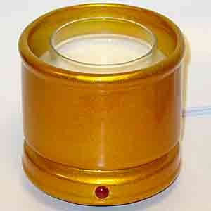 Cachepot Electric Candle Warmer - Metallic Gold, A decorative jar candle holder and candle warmer in one # 85264