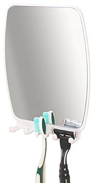 DecoBros Bathroom Shower Shave Mirror w/ toothbrush Razor holder caddy (8 x 6 inches)