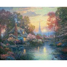 "Thomas Kinkade Painter of Light ""Nanettes Cottage"" 550 Pieces Real 3D Effect ..."