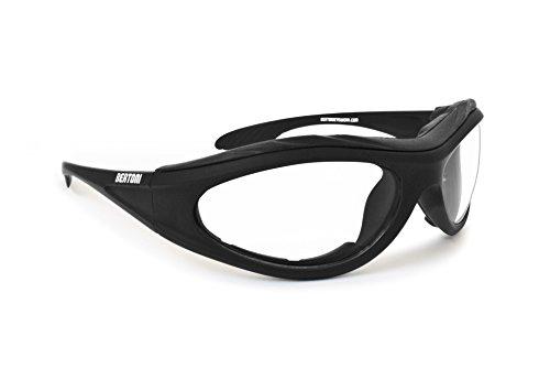 Occhiali Fotocromatici per Moto - lente antiurto antiappannante - spugna interna antivento removibile by Bertoni Italy - F125