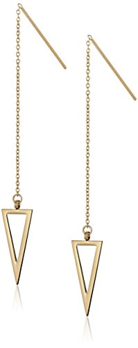 Rebecca Minkoff Long Triangle Chain Gold Drop Earrings