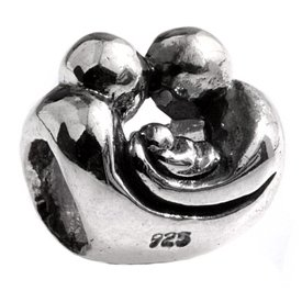 Authentic Silverado Father Mother Baby Family Unit 925 Sterling Silver Bead Charm MS062 fits Pandora Chamilia Trollbeads Biagi Zable