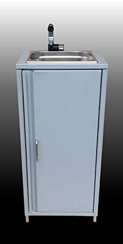 BEBV Mobiles Waschbecken Silber Spülbecken Handwaschbecken Waschstation Camping