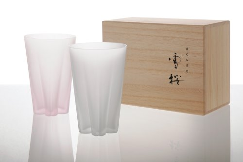 100% SAKURASAKU 「雪桜」 glass フロスト 紅白セット タンブラー ペア 江戸硝子 さくらさく