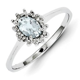 Genuine IceCarats Designer Jewelry Gift Sterling Silver Rhodium Aquamarine Diamond Ring Size 6.00