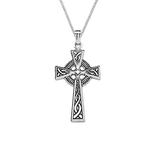 Sterling Silver Celtic Cross Pendant Necklace , 18