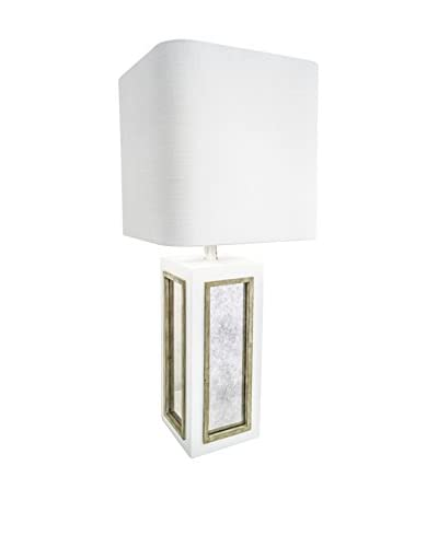 Couture Century City Table Lamp, White/Silver