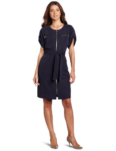 Jones New York Women's Short Sleeve Dress, Admiral Navy, 12