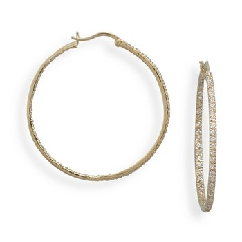 14 Karat Gold Plated Sterling Silver Clear CZ In Out Style Hoop Earrings The Hoops Are 40mm