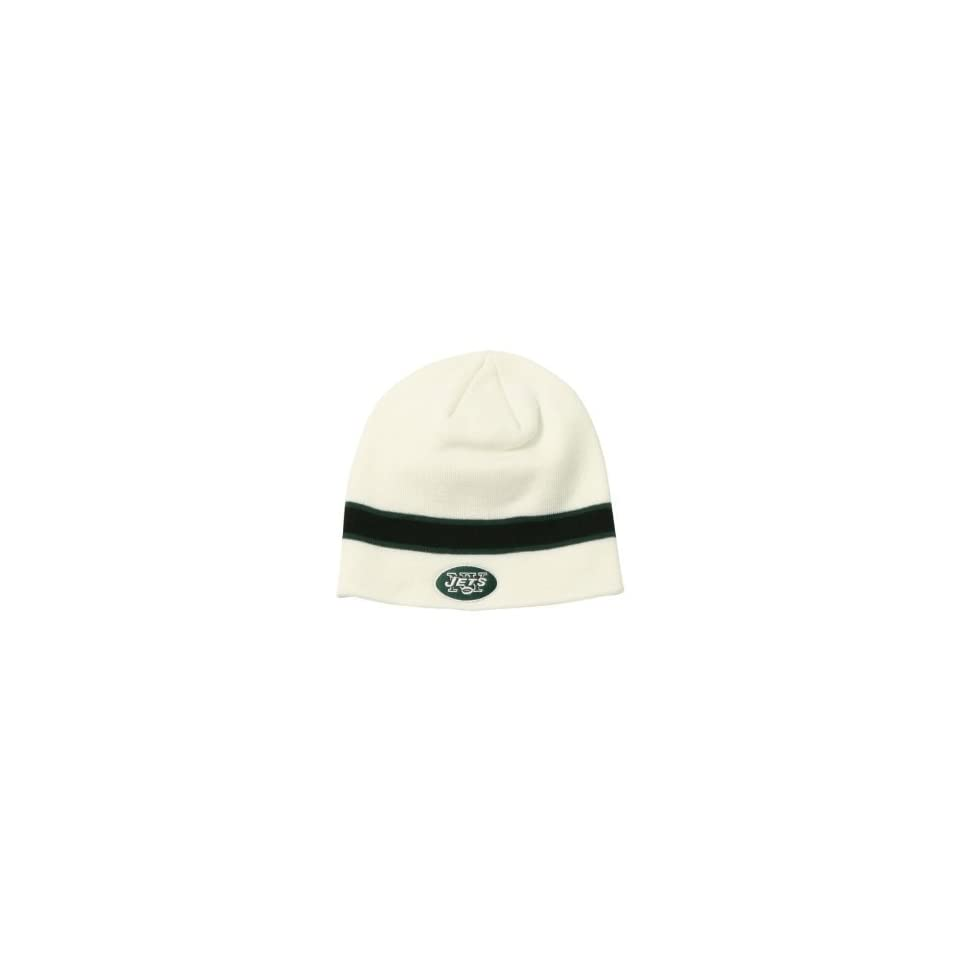 1aacce93bf9 New York Jets NFL White Stripe Knit Beanie Hat on PopScreen