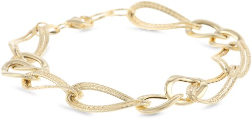 14k Italian Yellow Gold Polished and Textured Double Oval Link Bracelet, 7.5″