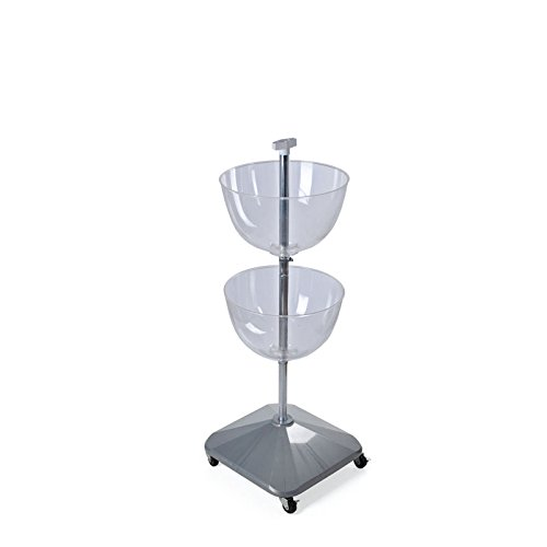 retail clear plastic 16 diameter two tiered bowl floor display