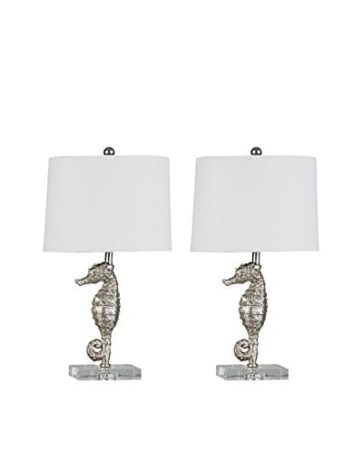 Couture Lamps Set Of 2 Seahorse Accent Lamps, Silver