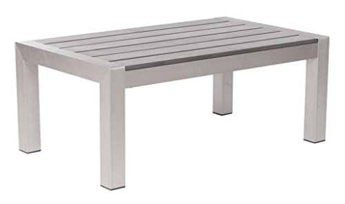 Modern Outdoor Coffee Table, Silver Brushed Aluminum