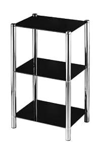 Premier Housewares Étagère d'angle 3 niveaux Étagères en verre noir/structure chrome 70 x 41 x 31 cm