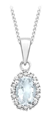 Carissima 9ct White Gold 0.5ct Diamond & Aquamarine Cluster Pendant On Curb Chain Necklace 46cm/18""