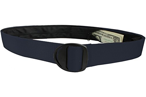 Bison Designs Crescent Black Buckle Money Belt - Large - Navy (Bison Money Belt compare prices)