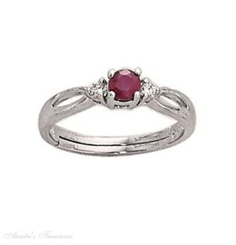 Sterling Silver Ruby Cubic Zirconia Marquise Ring Size 7