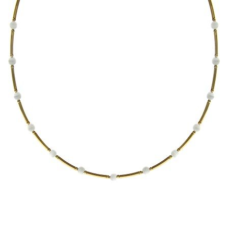 Vermeil (24K Gold over Sterling Silver) Glass White Cats Eye Stone Bar and Bead Necklace
