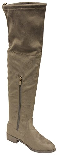 Natural Breeze Olympia-14 Women's thigh high leg-lengthening soft shaft tie back side zip suede boots Taupe 8.5 (Natural Breeze compare prices)