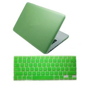 """Dealgadgets® Green Frosted Matte Surface Crystal Hard Shell Case For Macbook Pro 13"""" A1278 Aluminum Unibody With Silicone Keyboard Cover Skin Stickers Protector"""