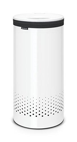 Brabantia 102462 Corbeille à Linge avec Couvercle Inox/Plastique Blanc 35 L 29,7 x 29,7 x 63,5 cm