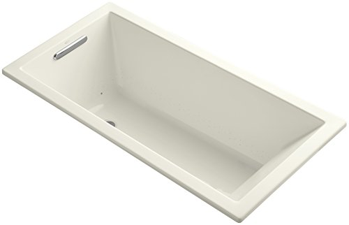 KOHLER K-1167-GVB-96 Underscore 60-Inch x 30-Inch Drop-In Bubble Massage Air Bath with Reversible Drain, Biscuit - 1