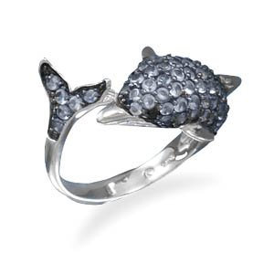 Sterling Silver Black Rhodium Plated CZ Dolphin Ring / Size 7