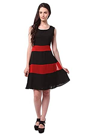 Purva Art Latest Red Line And Black Western Wear Tunic (Semi Stitched_Black & Red_Tunic)