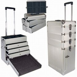 City Lights Large Detachable and Lockable Aluminum Case on Wheels, Silver