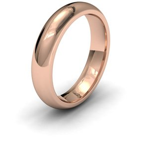 9ct Rose Gold, 5mm Wide, Court Shape Heavy Weight Wedding Ring