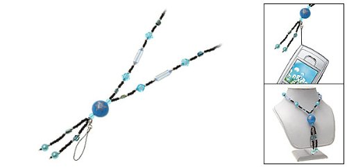 Rosallini Blue Round Beads Pendant Costume Necklace for Ladies