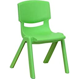 Flash Furniture Plastic Stackable School Chairs, 12\'\' Seat Height, set of 4, Color Green