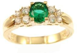 14k Yellow Gold, Simple Classic Design Ring with Lab Created Oval Shape Green Colored Stone