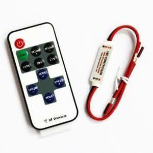 SUPERNIGHT (TM) RF Wireless Remote Control Mini Dimmer For Single Color LED Light Strip 5V-24V