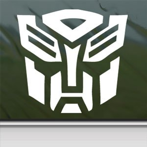 TRANSFORMERS White Sticker AUTOBOT LOGO MOVIE Laptop Vinyl White Decal