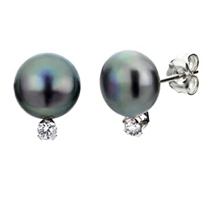 Sterling Silver .10ctw Diamond 8-9mm Dyed Black Button Shape Freshwater Cultured Pearl Stud Earrings