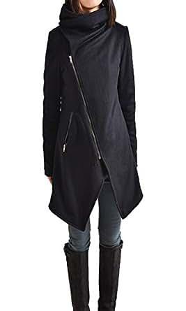Zeagoo Women Winter Fashion Asymmetrical Long Wool Trench