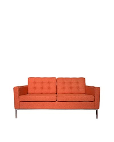 LeisureMod Modern Lorane Twill Wool Loveseat, Orange