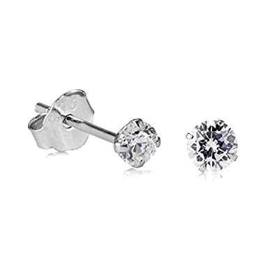 Women's Earrings 925 Sterling Silver Cubic Zirconia Round Crystal CZ Stud Clear Black 3mm to 8mm
