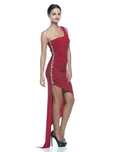 Women's Red Jeweled Beaded Ballroom Tango Salsa Latin Dance Party Formal Dress (Medium)