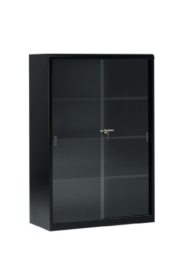 "Tennsco 352GL Heavy Gauge Steel Executive Bookcase with Glass Doors and Lock, 36"" Width x 52"" Height x 15"" Depth, Black"