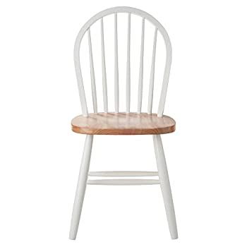 ... Winsome Wood Windsor Chair In Natural And White Finish, ...